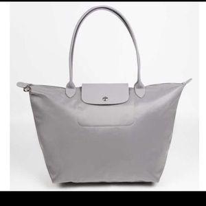 Longchamp Neo Large Tote Silver Grey 💯original